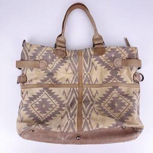 Tasha Polizzi Leather Southwestern Aztec Tote Bag